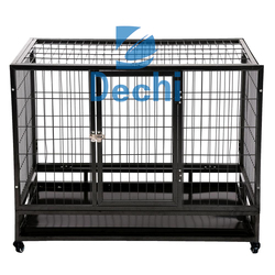 "36"" square tube steel Heavy Duty Pet Dog Cage Crate Kennel With Wheels"