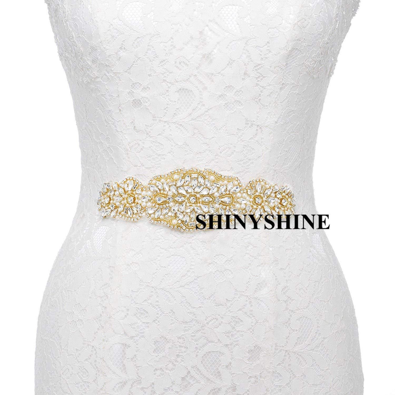 ShinyShine Gold Wedding Belt Applique Bridal Belt, Sash Belt Applique, Crystal Rhinestone Applique RA089
