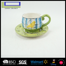High quality bird series reliefs drawing ceramic coffee cup and saucer set