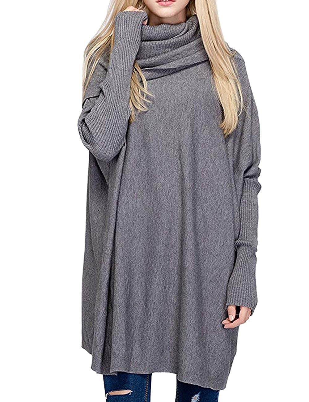 BOBIBI Women Oversized Cowl Neck Sweaters Long Sleeve Loose Fit Knitted Pullover