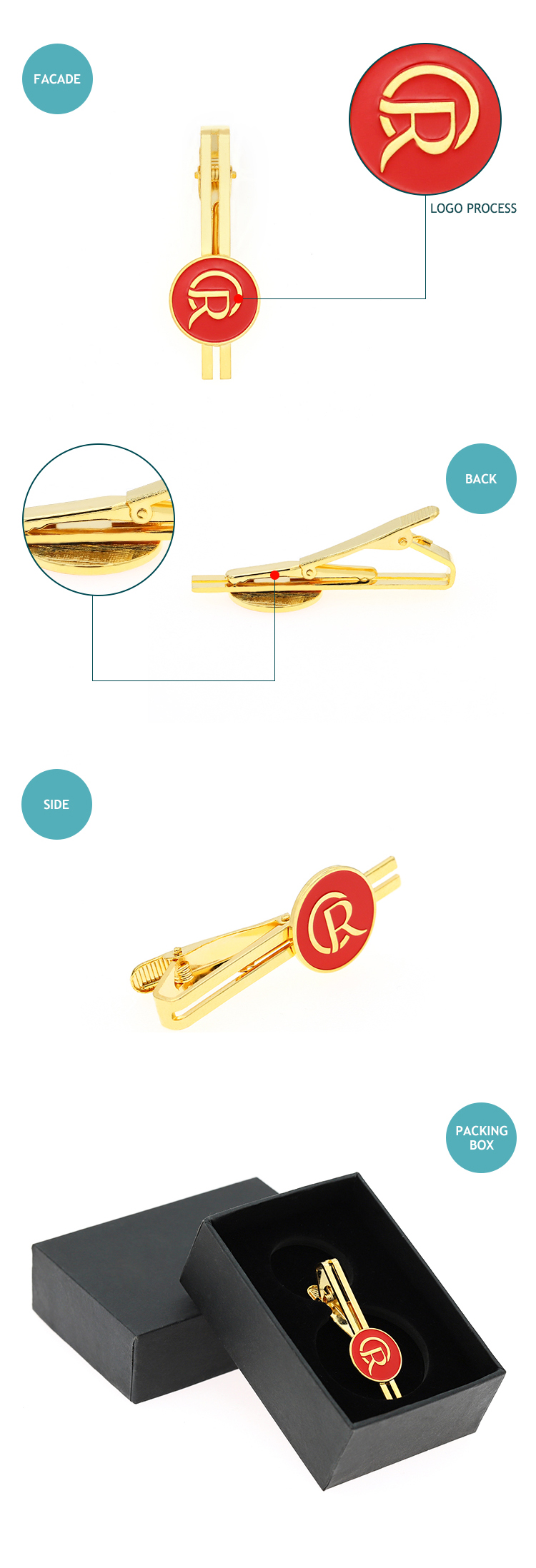 Fashion gold clip on tie/custom tie clip