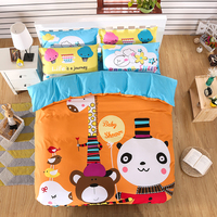 Wholesale luxury home duvet cover queen king size 100% cotton cartoon printed bedding set
