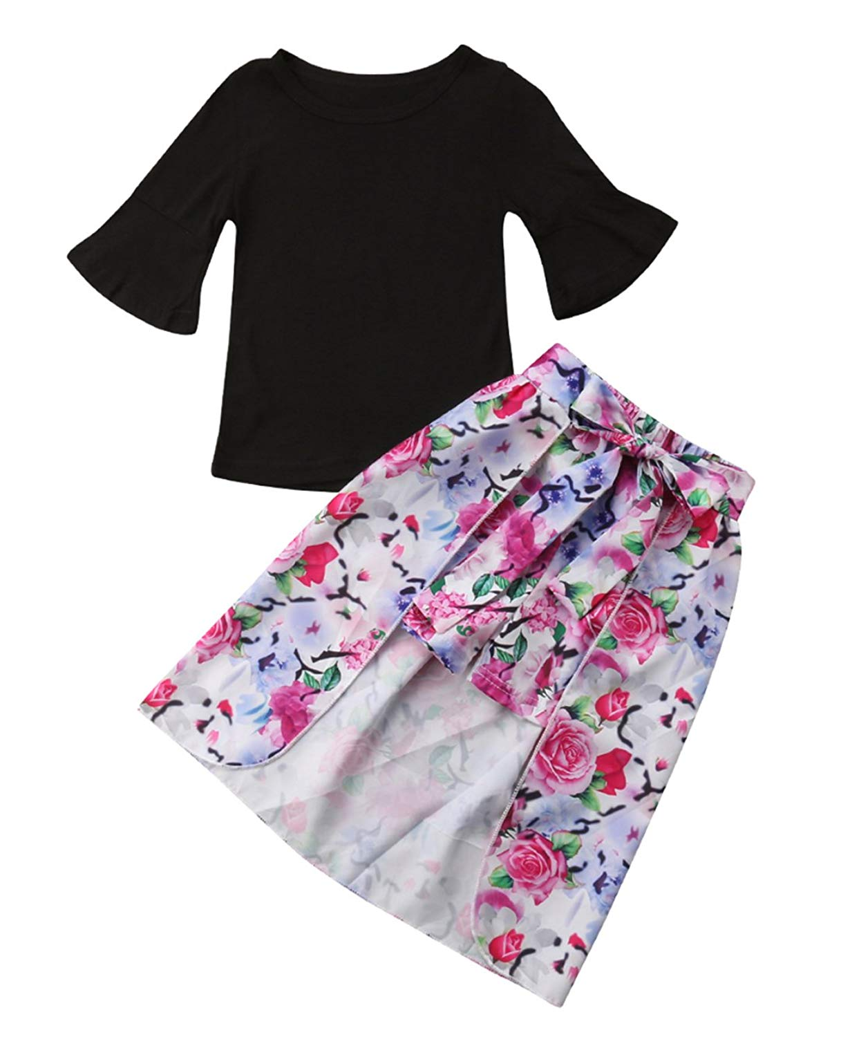 3pcs 1-7 Years Toddler Girls Outfit Set, Baby Girls Black T-Shirt Tops,Baby Girls Floral Shorts and Cloak Clothes Set