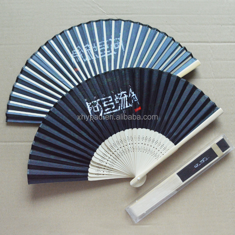Hand Held Silk Folding Fan with Bamboo Frame