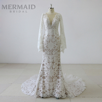 Deep v neck long sleeve beauty bridal mermaid wedding dress