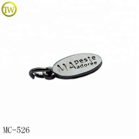 Oval shape engraved logo charms custom silver metal jewelry brand tags for bracelets