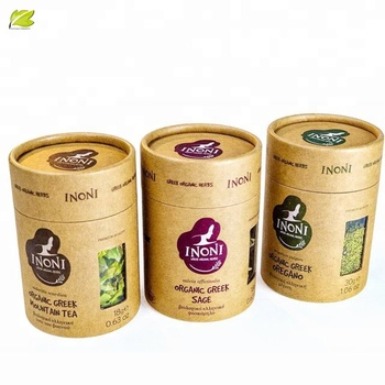 Free design empty paper tea box kraft paper packaging tube  for tea round paper packaging with pvc window