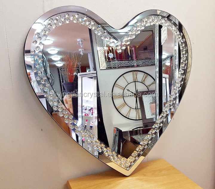 CLB-1023 Custom high quality heart shape crystal glass image display wall ornament