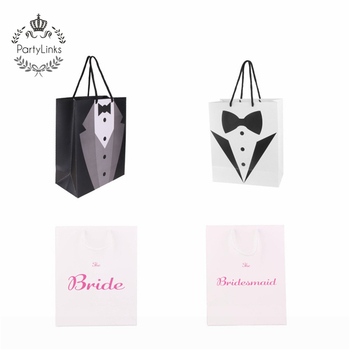 Bride Tuxedo Wedding Bachelorette Party Paper Gift Favor Carry Bags With Handle Candy Bag