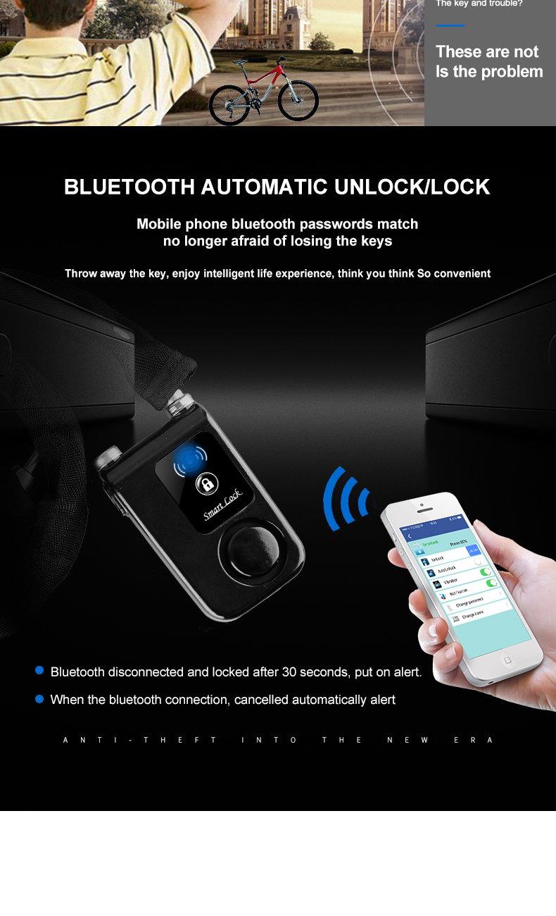 APP control Smart lock Waterproof Anti theft Bicycle Alarm Lock