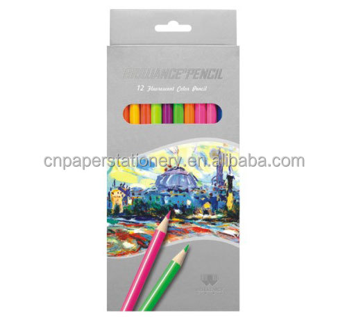 color box packing 12 colors triangle pencil for school student cheap price