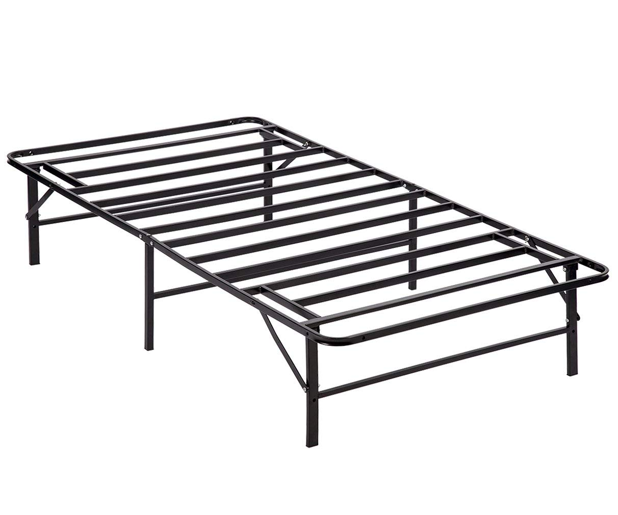 PayLessHere Bed Frame Platform Folding Bed Frame Twin Metal Base Mattress Foundation Frame 14 Inch Portable Heavy-Duty Replaces Box Spring with Storage Black Steel