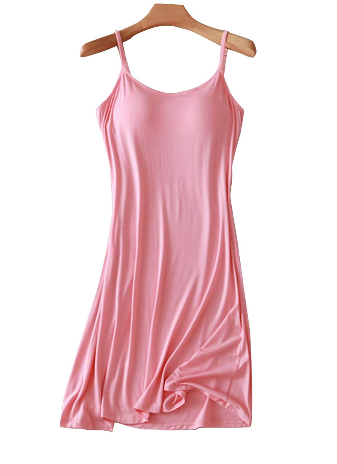 0249a561e2e95 Get Quotations · FOURSTEEDS Womens Modal Built in Bra Camisole Shelf Bra  Spaghetti Straps Tank Dress