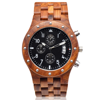 Hot selling clock dial bamboo watch OEM Japanese movt natural wood watch three eyes function