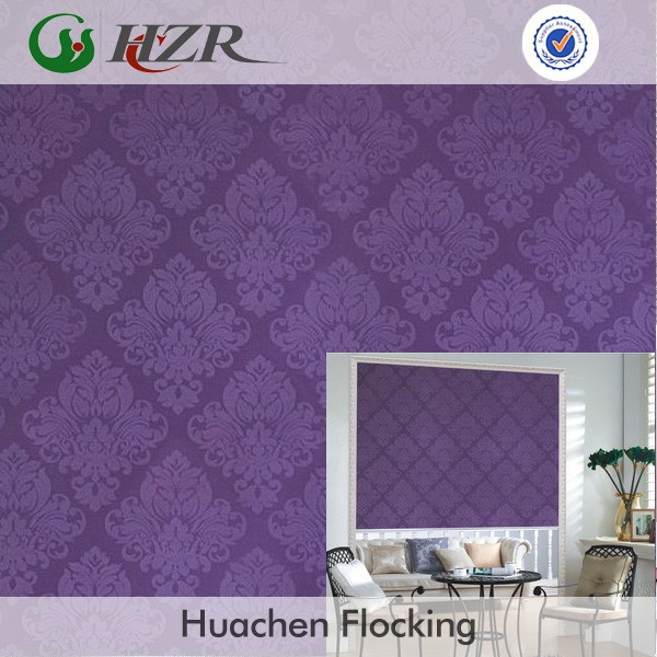 100% polyester luxury jacquard Damask floral blackout slubbed roll blind nonflammable fabric made in China