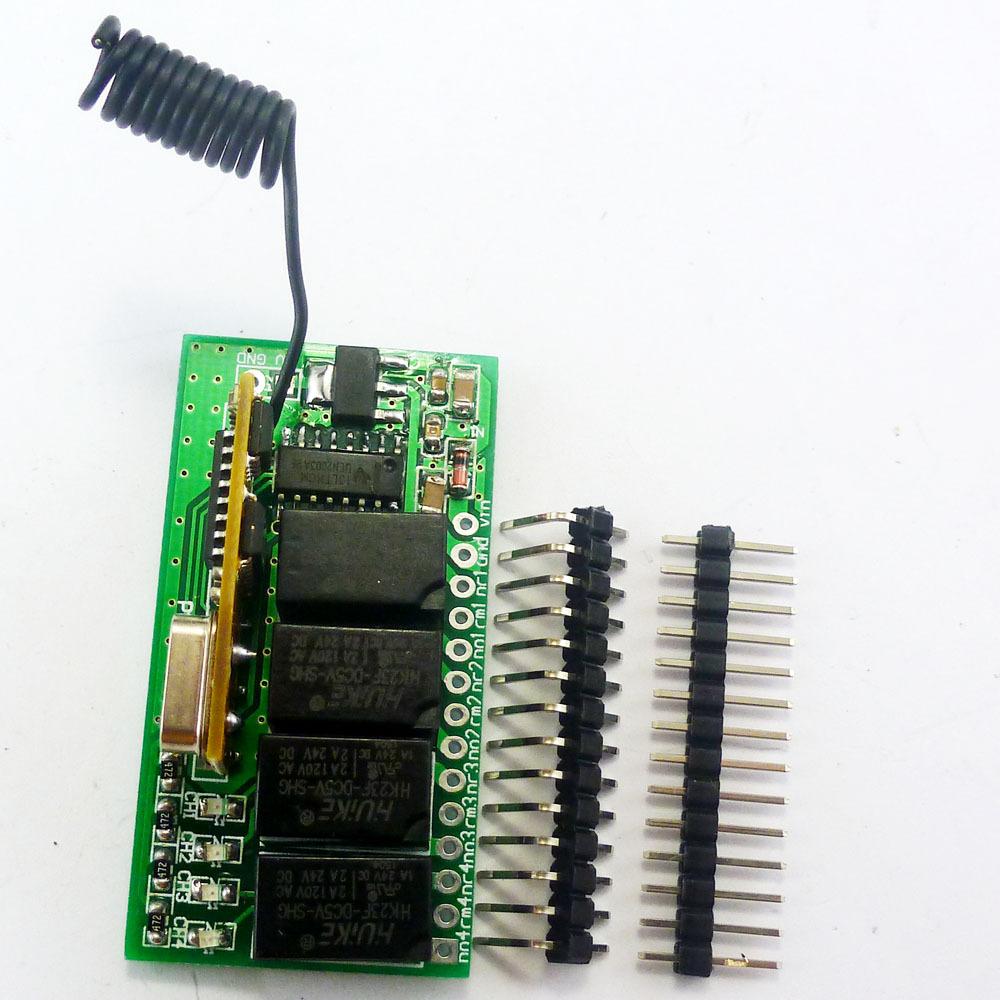 Super Mini Dc 5v 9v 12v 433 92m 4ch Rf Wireless Remote Control Relay Switch For Pt2262 Ev1527