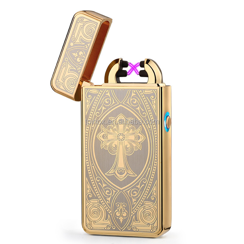 USB Rechargeable Electric Arc Cigarette Lighter, Flamless Windproof Cigar Torch Lighter No <strong>Gas</strong> with USB Cable