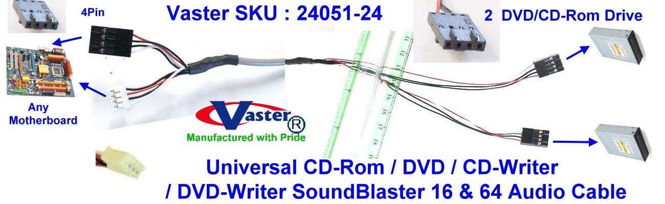 SuperEcable - 24051-50 Pcs/Pack CD-Rom/DVD/CD-Writer/DVD-Writer(2 DVD Drive to Any Sound-Card) Audio Cable
