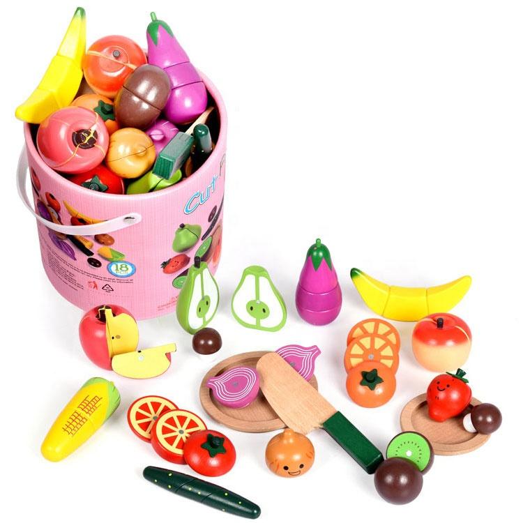 Pretend Play Food Set Kids Paper Barrel Kids Wooden Cutting Vegetable Fruit Toy for Children