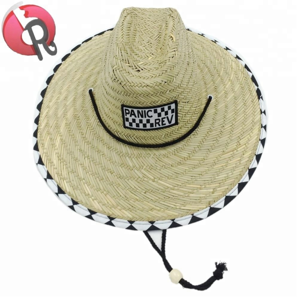 88cc045286e Custom Wholesale Summer Straw Lifeguard Hats With A Logo Patch For ...