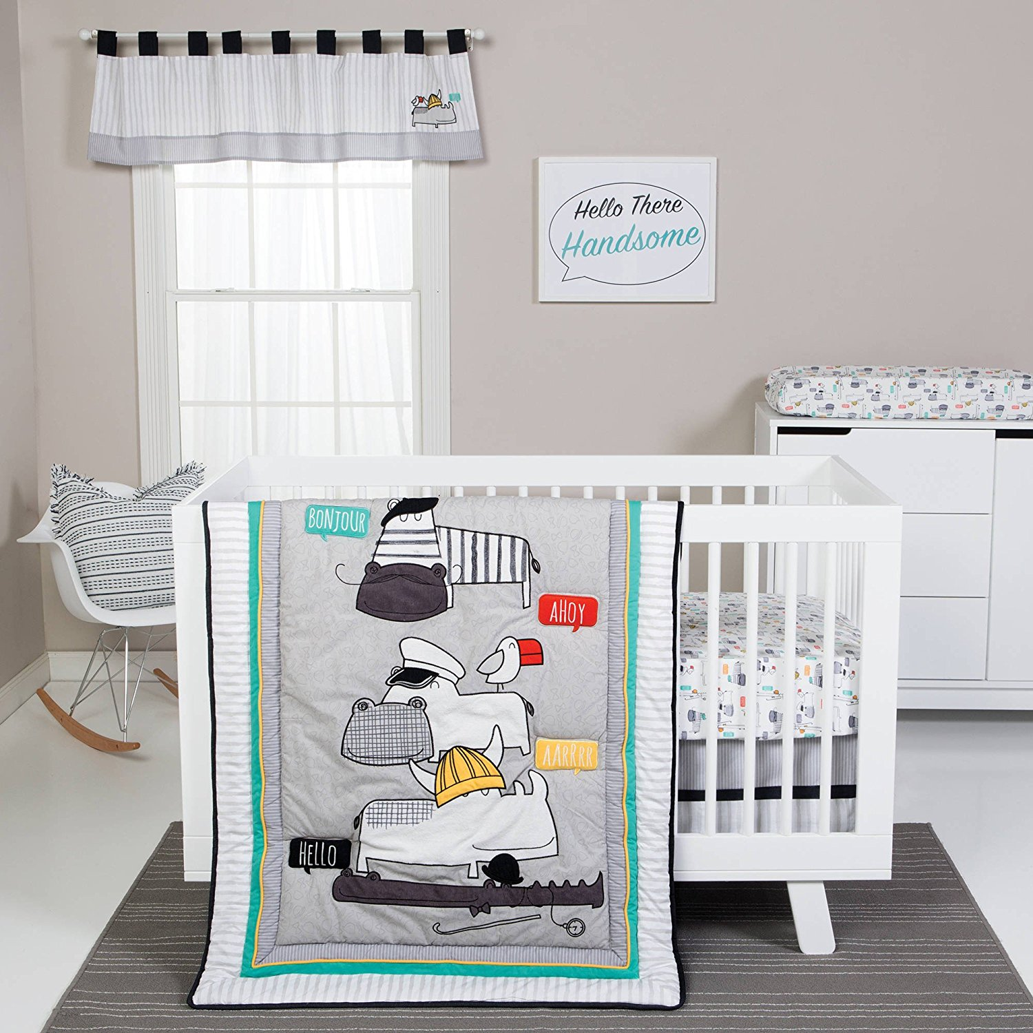 Get Quotations Uk 4 Piece Grey White Teal Baby Animals Crib Bedding Set Newborn Jungle Trees Themed