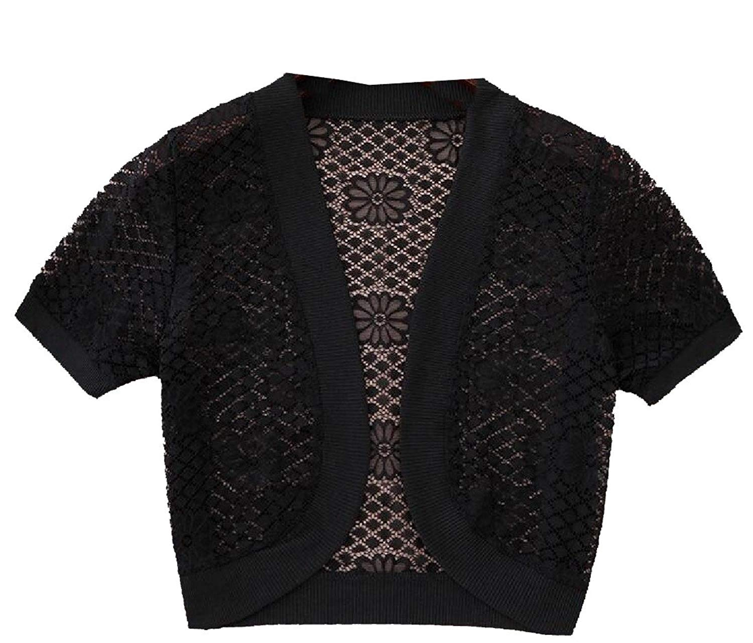 6d7f79b8524a0 Get Quotations · Andopa Women's Lace Patchwork Capes Short Sleeve Open Front  Shoulder Shrugs