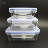 Kitchen Eco Friendly Food Grade Glass Storage Container with Same Size Lids