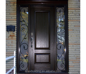 Black Walnut Main Door With Double Sidelights Design Doors Front