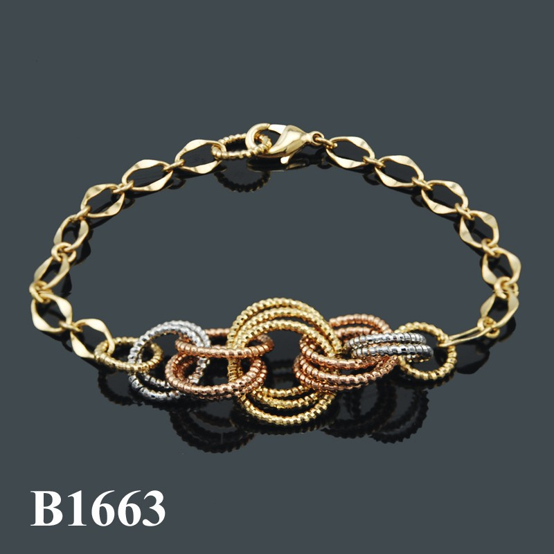 Joyeria Fashion Jewelry 2015 Imitation Jewellery Tri Tones Turkish Gold Plated Bracelet 18K