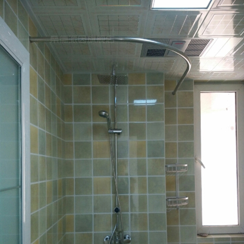 Thick Stainless Steel Shower Curtain Rod Curved L Type U