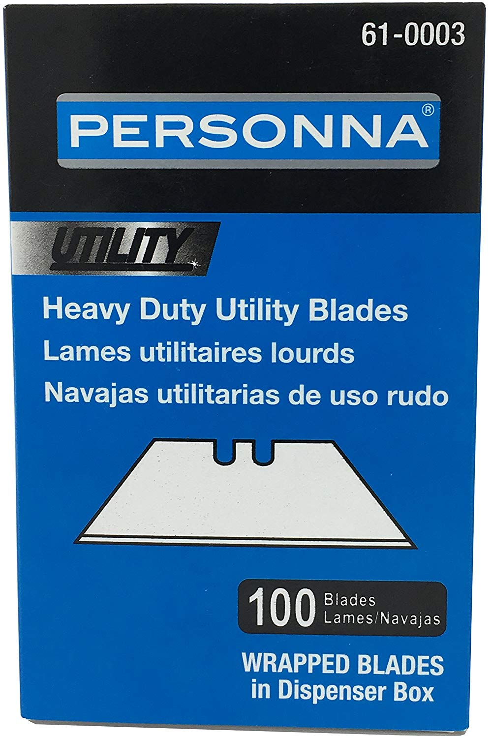 Heavy Duty Utility Blades - Accutec Utility Blades -(100 PACK) - Replacement Personna Double Edge Razor Blades - Box Cutter Blades, Drywall Blades, Floor Blades, Roofing Blades, General Purpose, etc.