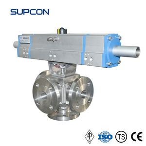 3 Way Ball Valve with 180 degree turn pneumatic actuator / 180 degree Pneumatic 3-way Ball Valve 3 8