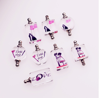 Hear wedding LOVE Glass Crystal Vials perfume bottle pendant rice art DIY gift charms bracelet pendant