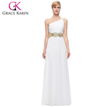 Grace Karin One Shoulder White Prom Party Dress Chiffon Evening Dress 8 Size US 2~16 GK000094-1