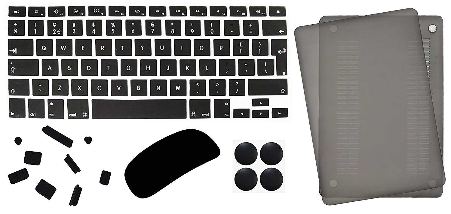 "5in1 Lilware Accessory Kit for Apple MacBook Pro 13"". Matte Hard Plastic Case (2nd Gen A1278) + Waterproof International Keyboard Cover + Magic Mouse Protector + Anti Dust Plugs + 4 Rubber Feet. Grey"