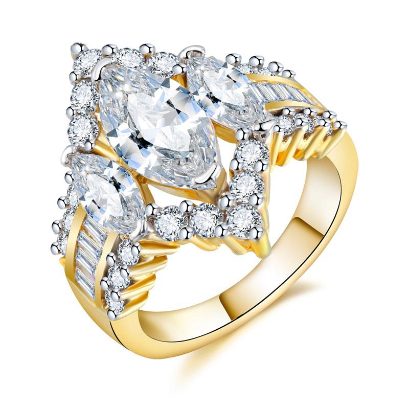 0ff318c504d7 Hecho de oro de Color de la boda Anillos De Compromiso blanco Marquesa de  Zirconia cúbica
