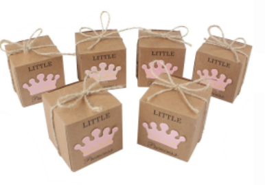 product-Small Square Brown Paper Gift Box Baby Shower Candy Box With Little Prince Princess Crown De