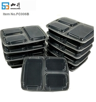 32oz 3 compartment take away microwave food packaging containers, tiffin box lunch plastic food storage container set