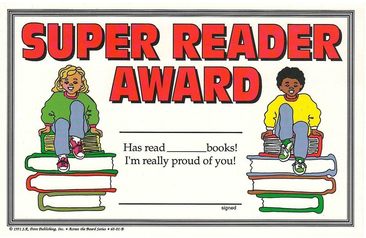 Super Reader Student Achievement Award Certificates