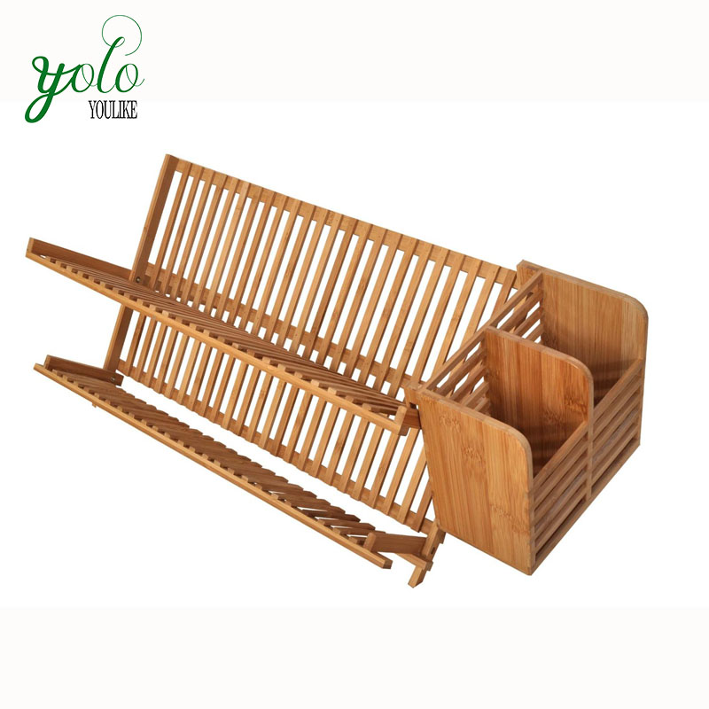 High Quality 100 Bamboo Folding Dish Rack With Utensil