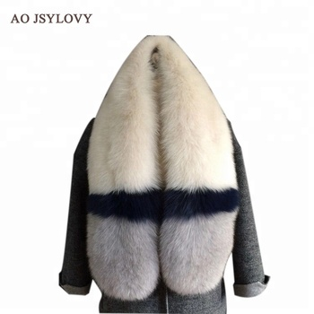 Fashionable high quality hick genuine fox fur scarf for women