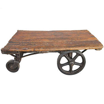 Vintage Cart Coffee Table Reclaimed Wood And Cast Iron Wheels