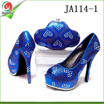 Ja114 Queency Royal Blue Wholesale Women Italian Wedding Matching Leather High Heel Shoes And Bags Buy Wholesale Italian Leather Shoes And