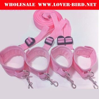 Pink Nylon Tied TeaSex Hand and Ankle Cuffs Bondage Sexts Bed Harness Straps Sex Bondage Restraints Toy Fetish kit