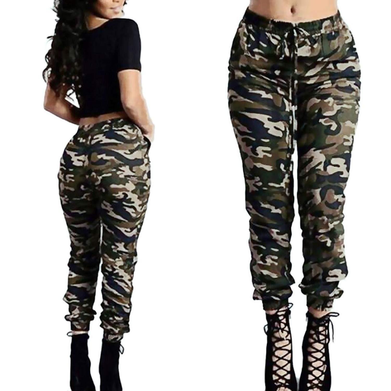 17535dd52f9 Get Quotations · Leedford Women Fashion Camouflage High Waist Wide Leg Pants  Sports Cargo Pants Loose Yoga Legging Trousers