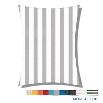 JINGQI 10' x 15' Rectangle Grey-White-Stripes UV Block HDPE Fabric Sun Shade Sail for Outdoor Garden