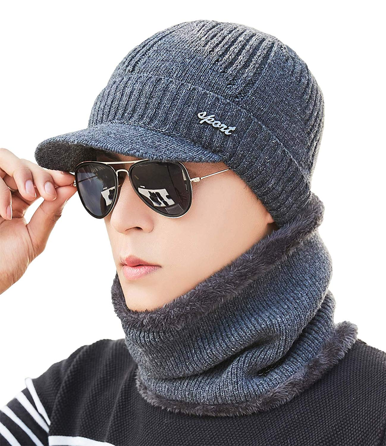 eb2eb86d044 Get Quotations · Mens Knit Visor Beanie Winter Hat   Fleece Scarf Sets Face  Neck Cover   Ear Warmer