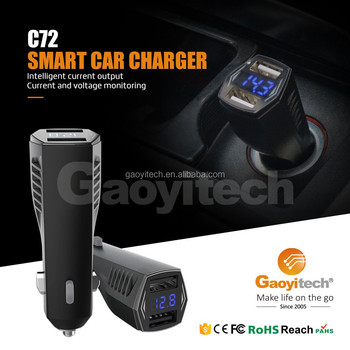 LCD Smart IC Dual USB Car charger Support Charging Ipad, Apple, Android Phone