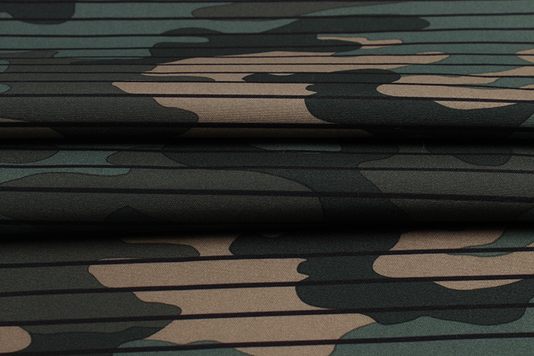In stock twill microfiber peach skin fabric with horizontal stripe camouflage pattern print