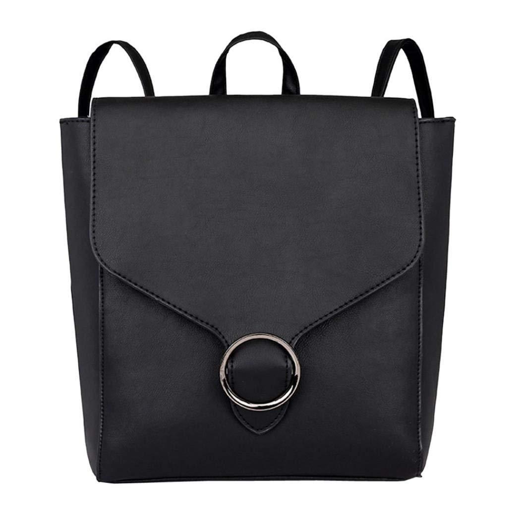 YIYEZI Vintage Women Student Pure Color Leather Shoulder Bag School Bag Tote Backpack